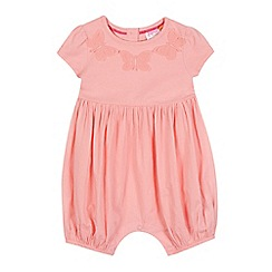 Baker by Ted Baker - Baby girls' peach butterfly applique romper suit