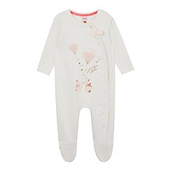 Baker by Ted Baker - Baby girls' off white bunny applique sleepsuit