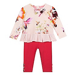Baker by Ted Baker - Baby girls' pink hummingbird print top and leggings