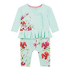 Baker by Ted Baker - Baby girls' light green floral print romper