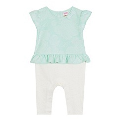 Baker by Ted Baker - Baby girls' light green rose jacquard mock romper