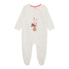 Baker by Ted Baker - Baby girls' pink bunny applique sleepsuit
