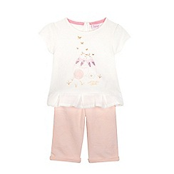 Baker by Ted Baker - Baby girls' pink bunny placement top and leggings set
