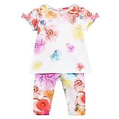Baker by Ted Baker - Baby girls' pink floral print top and leggings set