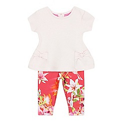 Baker by Ted Baker - Baby girls' light pink quilted top and floral print leggings