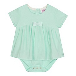 Baker by Ted Baker - Baby girls' light green pleated mock bodysuit