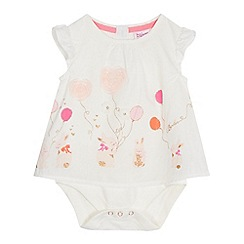 Baker by Ted Baker - Baby girls' off white bunny applique mock bodysuit