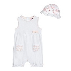 Baker by Ted Baker - Baby girls' white butterfly applique romper suit