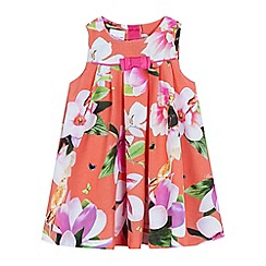 Baker by Ted Baker - Baby girls' orange floral print pleated dress