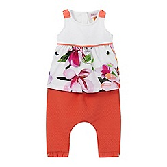 Baker by Ted Baker - Baby girls' white floral print top and orange quilted harem trousers