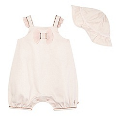 Baker by Ted Baker - Baby girls' pink textured romper and hat set