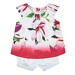 Baker by Ted Baker - Baby girls' white and pink ombre-effect top and shorts set