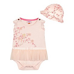 Baker by Ted Baker - Baby girls' pink blossom print tulle body suit and hat set