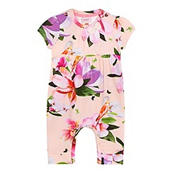 Baker by Ted Baker - Baby girls' pink floral print romper suit and headband set