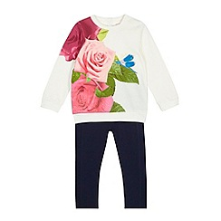 Baker by Ted Baker - Girls' white dragonfly sweater and leggings set