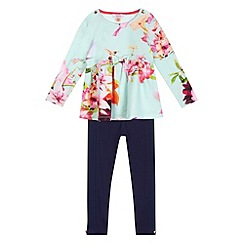 Baker by Ted Baker - Girls' aqua floral top and leggings set