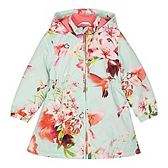 Baker by Ted Baker - Girls' light green floral shower resistant mac coat