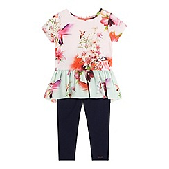 Baker by Ted Baker - Girls' pink floral print top and leggings set