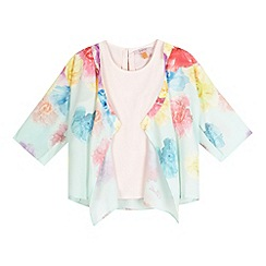 Baker by Ted Baker - Girls' light green floral print kimono and cami set