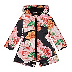 Baker by Ted Baker - Girls' black rose print mac coat