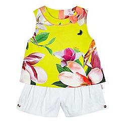 Baker by Ted Baker - Girls' yellow floral print top and shorts set