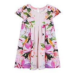 Baker by Ted Baker - Girls' light pink floral print pleated dress and headband set