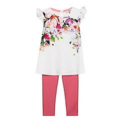 Baker by Ted Baker - Girls' white floral print top and pink leggings set
