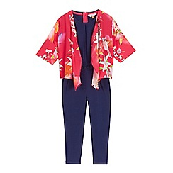 Baker by Ted Baker - Girls' pink hummingbird kimono and jumpsuit set