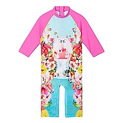 Baker by Ted Baker - Girls' pink bird print all-in-one sunsafe rash guard
