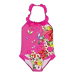 Baker by Ted Baker - Girls' pink floral halter neck swimsuit