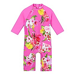 Baker by Ted Baker - Girls' pink floral all-in-one sun safe rash guard