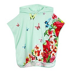 Baker by Ted Baker - Girls' bright turquoise butterfly print poncho