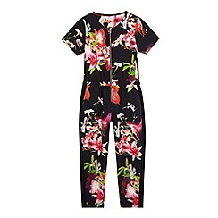 Baker by Ted Baker - Girls' black floral print jumpsuit