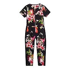 Baker by Ted Baker - Girls' black floral print jumpsuit