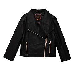 Baker by Ted Baker - Girls' black asymmetric biker jacket