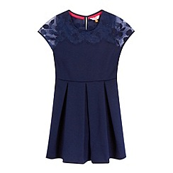 Baker by Ted Baker - Girls' navy lace yoke pleated dress