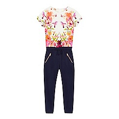 Baker by Ted Baker - Girls' navy quilted floral print jumpsuit