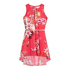 Baker by Ted Baker - Girls' bright pink belted floral print dress