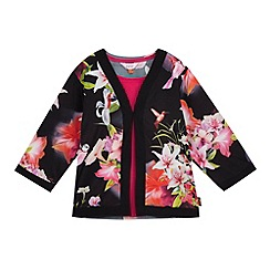 Baker by Ted Baker - Girls' black floral print kimono and cami