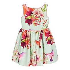 Baker by Ted Baker - Girls' pale green textured floral print dress