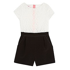 Baker by Ted Baker - Girls' white and black floral lace playsuit