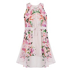 Baker by Ted Baker - Girls' light pink floral print dipped hem dress