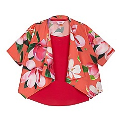 Baker by Ted Baker - Girls' orange floral print waterfall kimono and pink vest top set