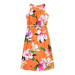 Baker by Ted Baker - Girls' orange floral print dress with a belt