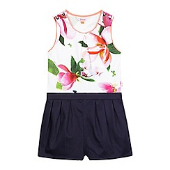 Baker by Ted Baker - Girls' white and navy floral print playsuit