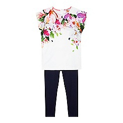 Baker by Ted Baker - Girls' white floral print tunic and navy leggings set