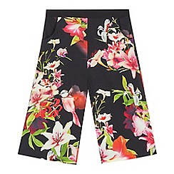 Baker by Ted Baker - Girls' black floral and hummingbird print culottes