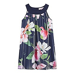 Baker by Ted Baker - Girls' navy floral print pleated dress