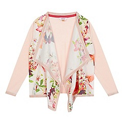 Baker by Ted Baker - Girls' pink floral print waterfall cardigan