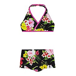 Baker by Ted Baker - Girls' black floral halter bikini top and shorts